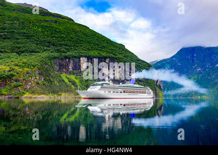 Cruise Ship, Cruise Liners On Geiranger fjord, Norway - Stock Photo