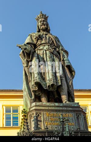 Statue of King Charles IV , Prague, near Charles Bridge ( Karlův most ), Prague 1, Bohemia, Czech Republic.Czech - Stock Photo