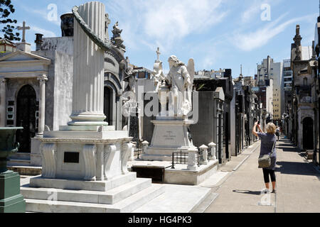 Family mausoleums in the Cementerio de la Recoleta, Buenos Aires, Argentina, South America - Stock Photo