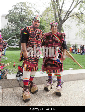 Pujllay dancers of the Quechuan people of Bolivia , in traditional clothes preparing for Latino festival - Washington, - Stock Photo