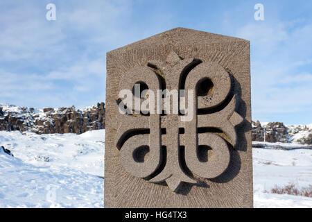 Logo in stone of the Þingvellir / Thingvellir National Park at Bláskógabyggð in southwestern Iceland - Stock Photo