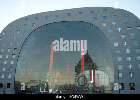 Indoor covered Food Market called Markthal, Rotterdam the Netherlands. - Stock Photo