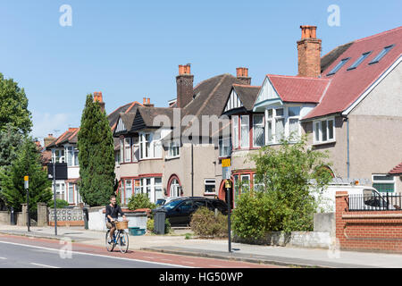 Residential houses on Boston Manor Road, Brentford, London Borough of Hounslow, Greater London, England, United - Stock Photo