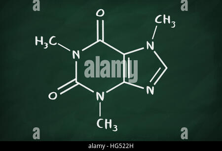 Chemical Formula Of Caffeine On A Blackboard Stock Photo 130418477
