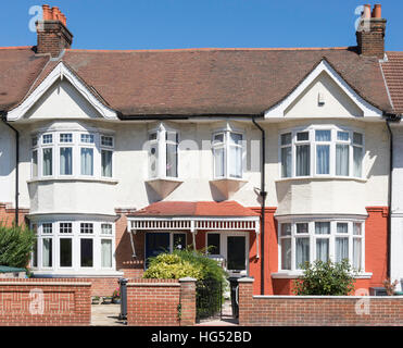 Semi-detached houses on Boston Manor Road, Brentford, London Borough of Hounslow, Greater London, England, United - Stock Photo