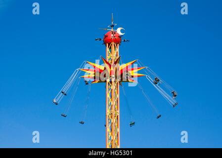Kouvola, Finland 1 July 2015 - Ride Star Flyer in motion in amusement park Tykkimaki - Stock Photo