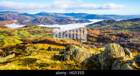 Cloud inversion in the valley of the River Brathay near Ambleside in the Lake District - Stock Photo