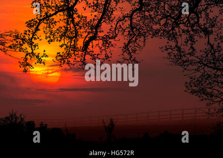 Sunrise over agricultural farmland in the countryside of North Yorkshire near the market town of Malton in the United - Stock Photo