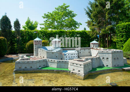 BRUSSELS, BELGIUM - 13 MAY 2016: Miniatures at the park Mini-Europe - reproductions of monuments in the European - Stock Photo