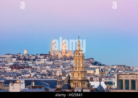 Sacre-Coeur Basilica at sunset in Paris, Fraance - Stock Photo