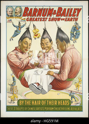Circus Poster -  Barnum & Bailey greatest show on earth _ By the hair of their heads - Stock Photo