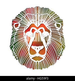 Bright colorful lion portrait, zodiac Leo sign - Stock Photo