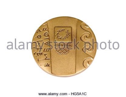 Athens 2004 Olympic Games Participation medal obverse Kouvola Finland 06.09.2016 - Stock Photo