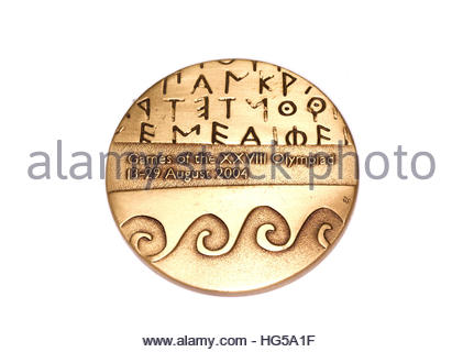 Athens 2004 Olympic Games Participation medal reverse Kouvola Finland 06.09.2016 - Stock Photo