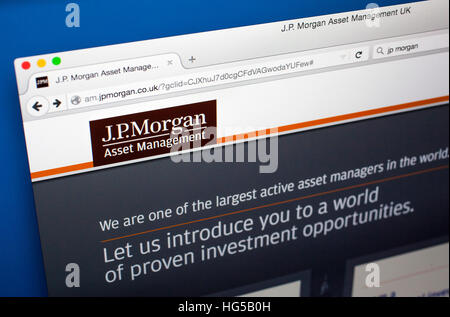 LONDON, UK - OCTOBER 20TH 2015: The website of JP Morgan Asset Management, on 20th October 2015. - Stock Photo