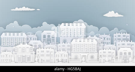 Row of houses and buildings in silhouette in old Georgian or Victorian styles on a smart or posh street - Stock Photo