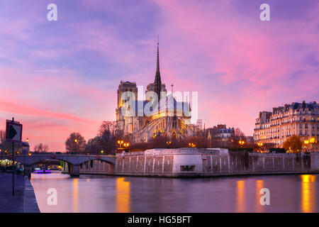Cathedral of Notre Dame de Paris at sunset, France - Stock Photo