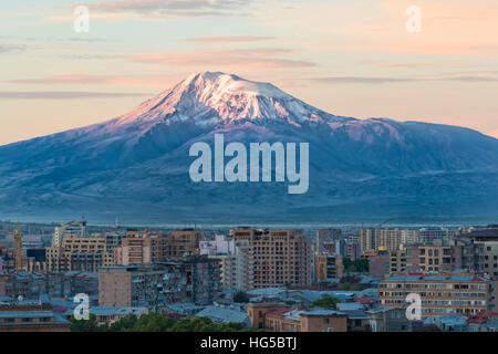 Mount Ararat and Yerevan viewed from Cascade at sunrise, Yerevan, Armenia, Cemtral Asia, Asia - Stock Photo