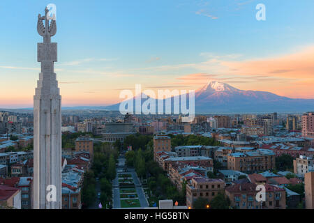 Mount Ararat and Yerevan viewed from Cascade at sunrise, Yerevan, Armenia, Central Asia, Asia - Stock Photo