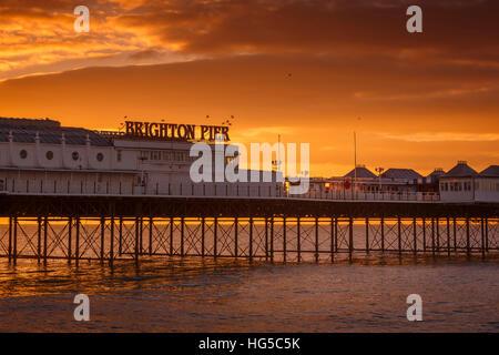 Brighton Pier at sunrise, Brighton, East Sussex, Sussex, England, United Kingdom - Stock Photo