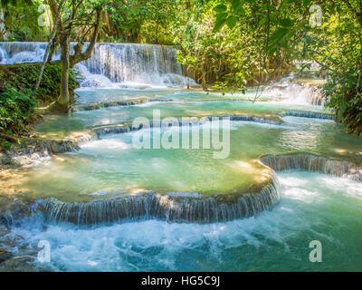 Keang Si waterfalls, near Luang Prabang, Laos, Indochina, Southeast Asia, Asia - Stock Photo