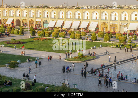 View across Naqsh-e (Imam) Square, UNESCO, from Ali Qapu Palace, Isfahan, Iran, Middle East - Stock Photo