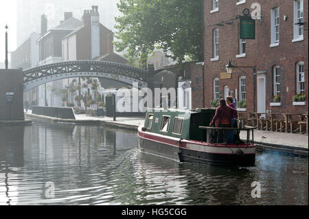 Gas Street Basin, Birmingham Canal Navigations (BCN), Birmingham, West Midlands, England, United Kingdom - Stock Photo