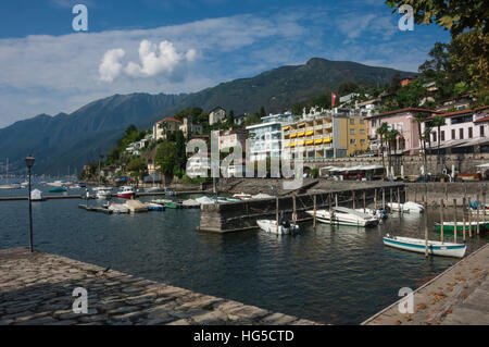 Old Harbour, Ascona, Locarno, Lake Maggiore, Ticino, Switzerland - Stock Photo