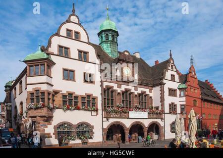 Rathaus, Rathausplatz, Freiburg im Breisgau, Black Forest, Baden-Wurttemberg, Germany - Stock Photo