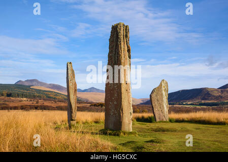 Machrie Moor stone circles, Isle of Arran, North Ayrshire, Scotland, United Kingdom - Stock Photo
