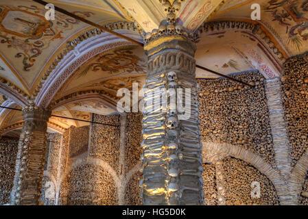 Chapel of Bones, Royal Church of St. Francis, Evora, UNESCO, Portugal - Stock Photo