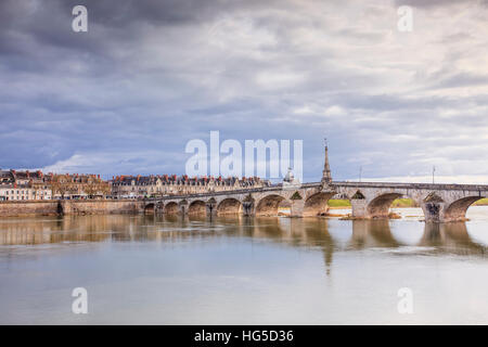 The Pont Jacques-Gabriel across the River Loire in Blois, Loir-et-Cher, Centre-Val de Loire, France - Stock Photo