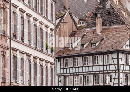Old houses in La Petite France, Strasbourg, Bas Rhin, Alsace, France - Stock Photo