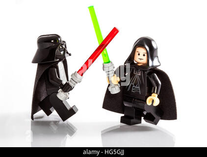 LONDON, UK - OCTOBER 15TH 2015: Lego minifigure toys of Star Wars characters Darth Vader and Luke Skywalker, on - Stock Photo