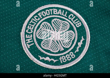 LONDON, UK - OCTOBER 15TH 2015: The club crest on a Celtic FC shirt, on 15th October 2015. - Stock Photo