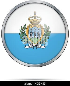 San Marino flag glass button style with metal frame. - Stock Photo