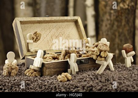Hard-working males lay down a supply of walnuts - Stock Photo