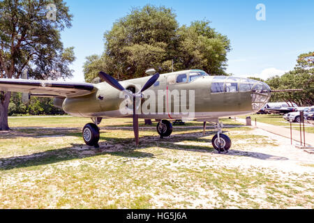 North American TB-25J-25-NC Mitchell, 44-30854, the last B-25 in the USAF inventory, marked as B-25B, 40-2344, Gen. - Stock Photo