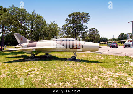 Mikoyan-Gurevich MiG-21F Fishbed C/E, '014', displayed in typical Russian Air Force markings. This is most likely - Stock Photo