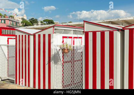 Changing Booths at the beach in Santa Margherita Ligure - Stock Photo