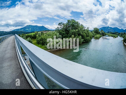 Bridge over river Iller, near Immenstadt, mountain Grünten in the back, Allgaue, Bavaria, Germany - Stock Photo