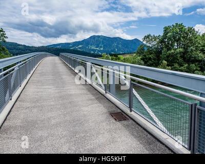 Bridge over river Iller, near Immenstadt, mountain Grünten in the back, Allgaue, Bavaria, Germany - Stock Photo