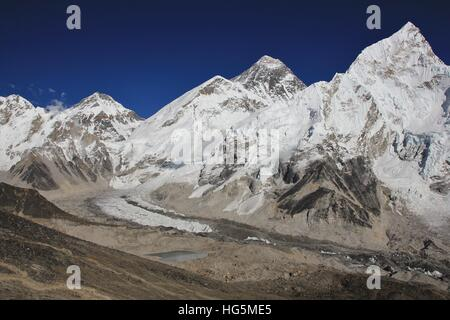 View from Kala Patthar. Mount Everest and Khumbu glacier. - Stock Photo