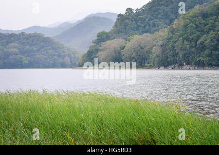 Hazy landscape of Lake de  Yojoa in Western Honduras. Central America - Stock Photo