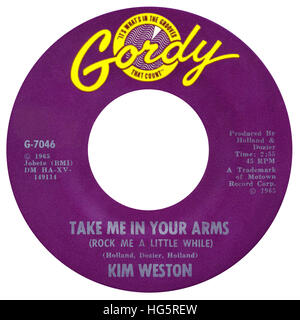 45 RPM 7' US record label of Take Me In Your Arms (Rock Me A Little While) by Kim Weston on the Gordy label from - Stock Photo