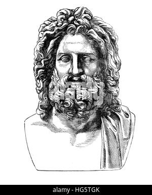 Ancient Roman bust of hellenic god Zeus, found in Umbrian city Otricoli in 1775, now in Vatican museum - Stock Photo