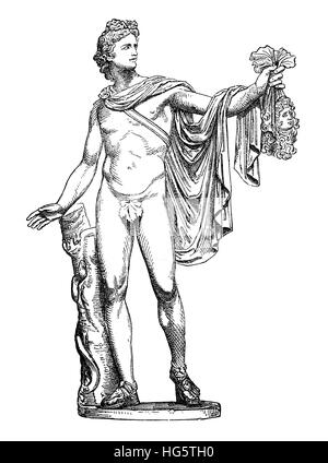 Ancient Roman marble sculpture Apollo of the Belvedere, now in Vatican Museum - Stock Photo