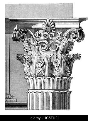Architectural detail, elaborated Corinthian capital with acanthus leaves and scrolls,vintage engraving. Corinthian - Stock Photo