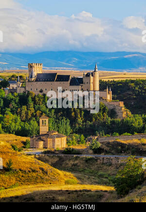 Spain, Castile and Leon, Segovia, View of the Alcazar. - Stock Photo