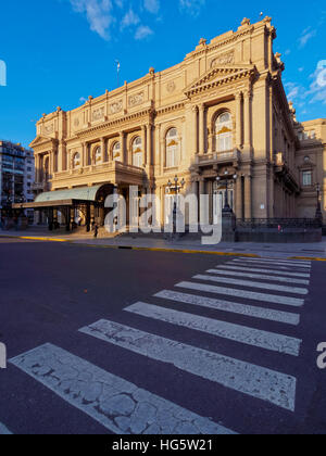 Argentina, Buenos Aires Province, City of Buenos Aires, View of Teatro Colon. - Stock Photo